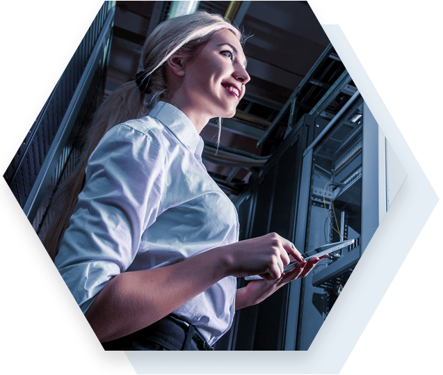Woman Working with Servers in Data Center