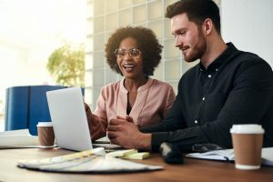 Businesspeople Working Online Together