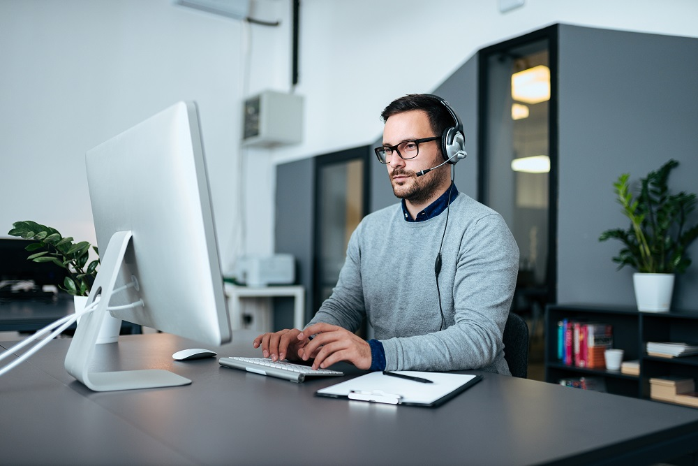 Man with headset and mic on