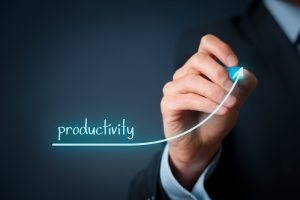 Hand drawing graph showing increased productivity