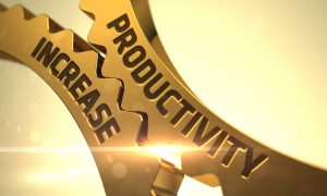 Connected gears labeled Productivity Increase